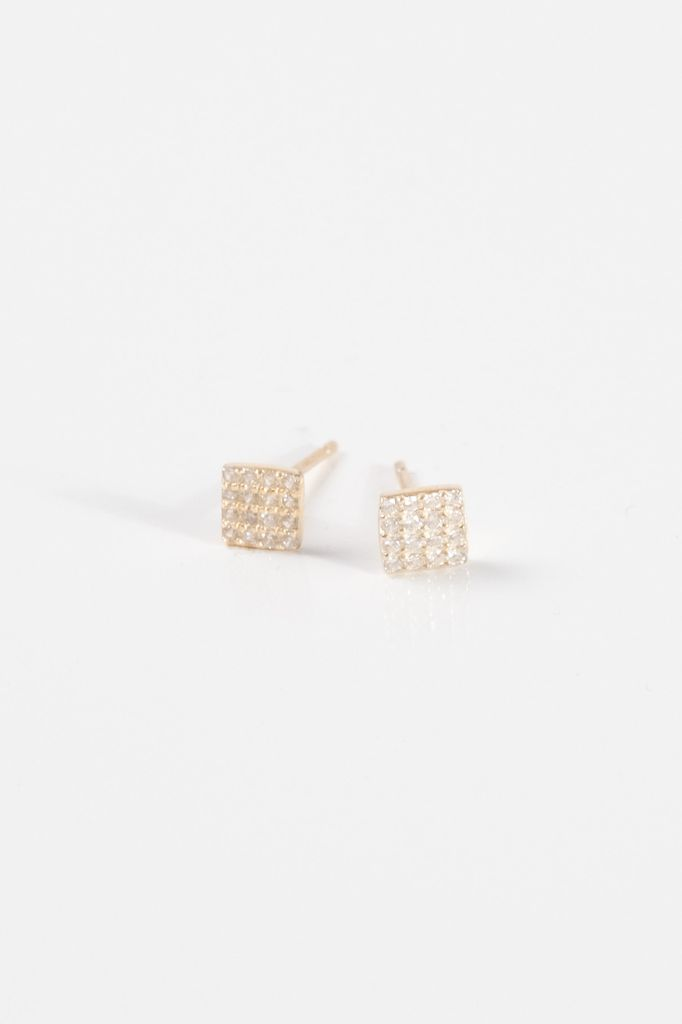 7992b2db5 Sterling Gold sterling mini pave square studs - Bobbles and Lace