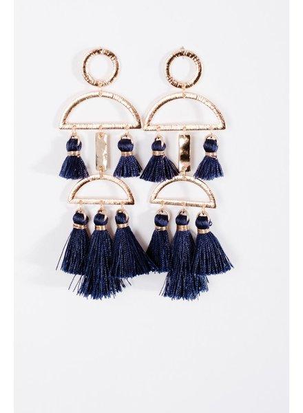 Trend Navy tassel trend earrings