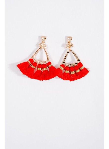Trend Red fringe trend earrings