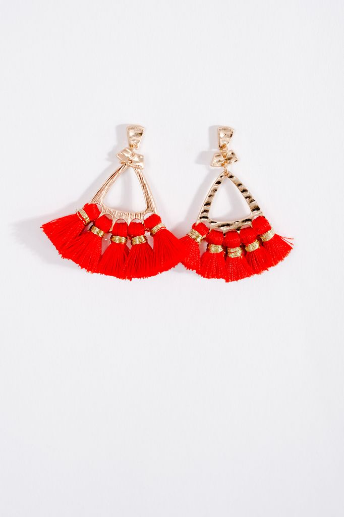 Trend Red fringe trend earrings
