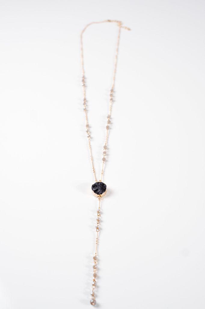 Long Beaded Y druzy necklace