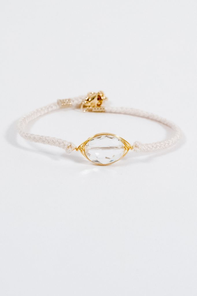 Stone White braided stone bracelet