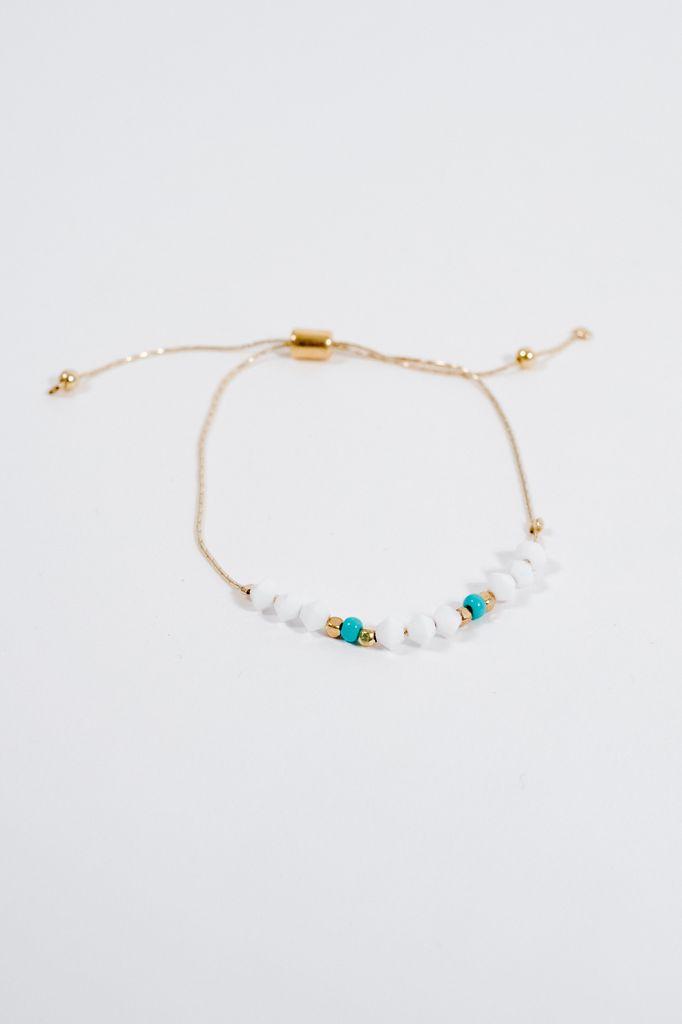 Stone White & teal bead adjustable bracelet