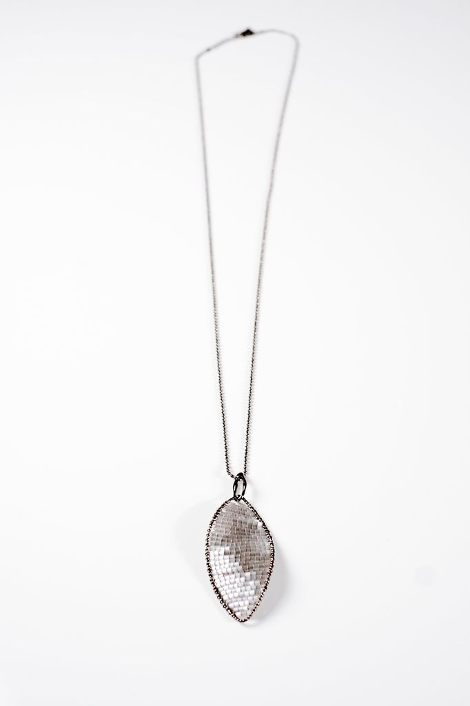 Long Gunmetal beaded petal necklace