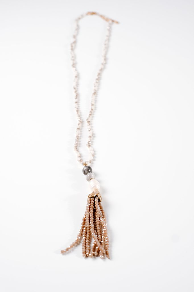 Long Neutral beaded tassel necklace - Bobbles and Lace 75f52e7210dd