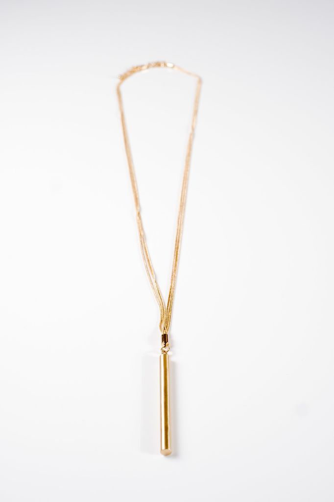 Long Multi chain long bar necklace