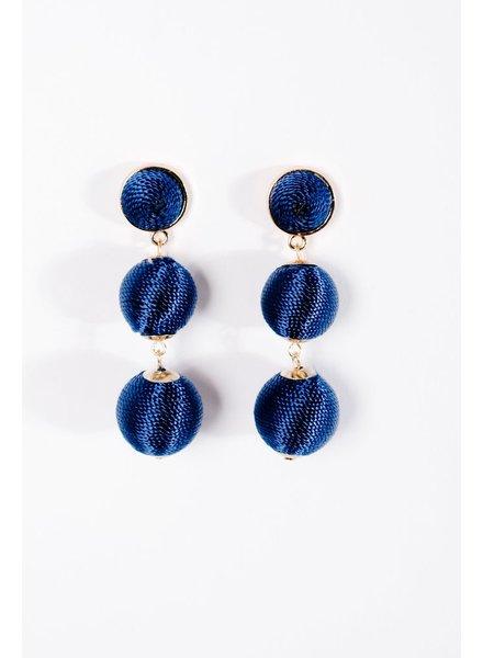 Trend Blue graduated sphere drop earrings