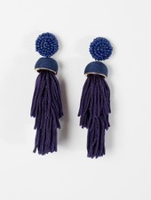Trend Navy tiered bead post earrings
