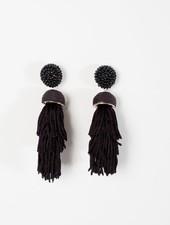 Trend Black tiered bead post earrings