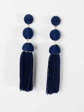 Trend Navy fringed triple ball earring