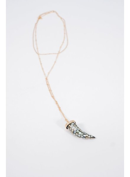 Long Double layer abalone horn necklace