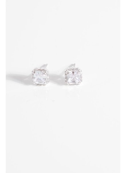 Sterling Rhinestone trim square stud