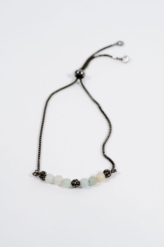 Stone Gunmetal beaded pull bracelet