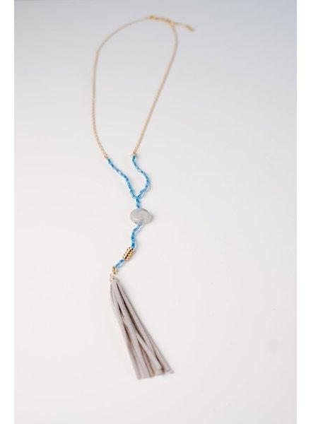 Long Blue beaded tassel necklace