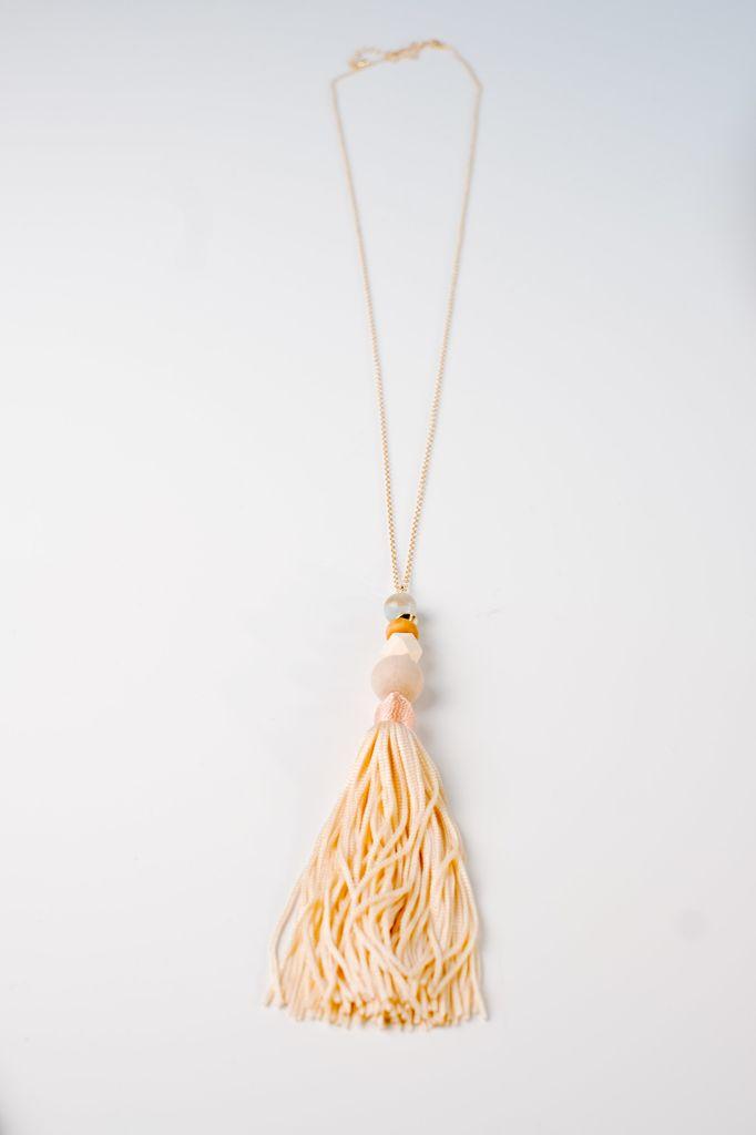 Long Summer tone tassel necklace