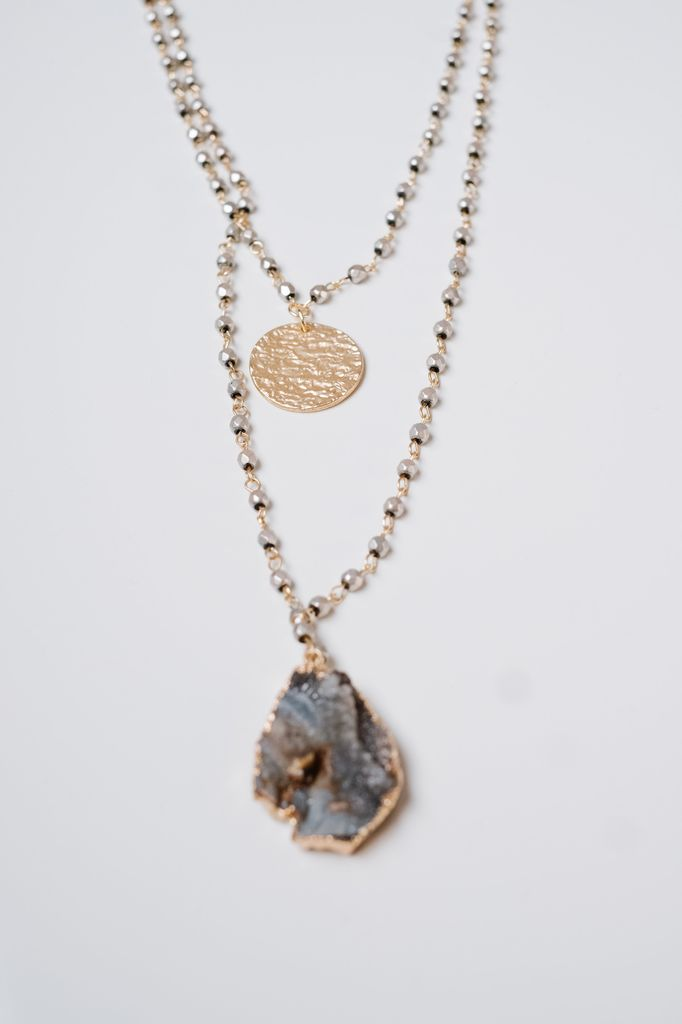 Gold Coin & Rock Layered Necklace