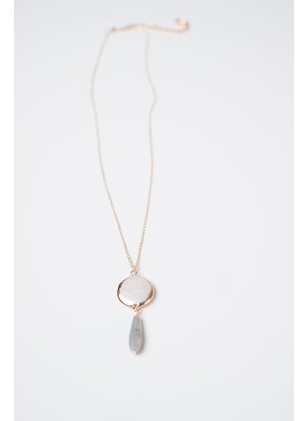 Pearl Pendant Stone Drop Necklace