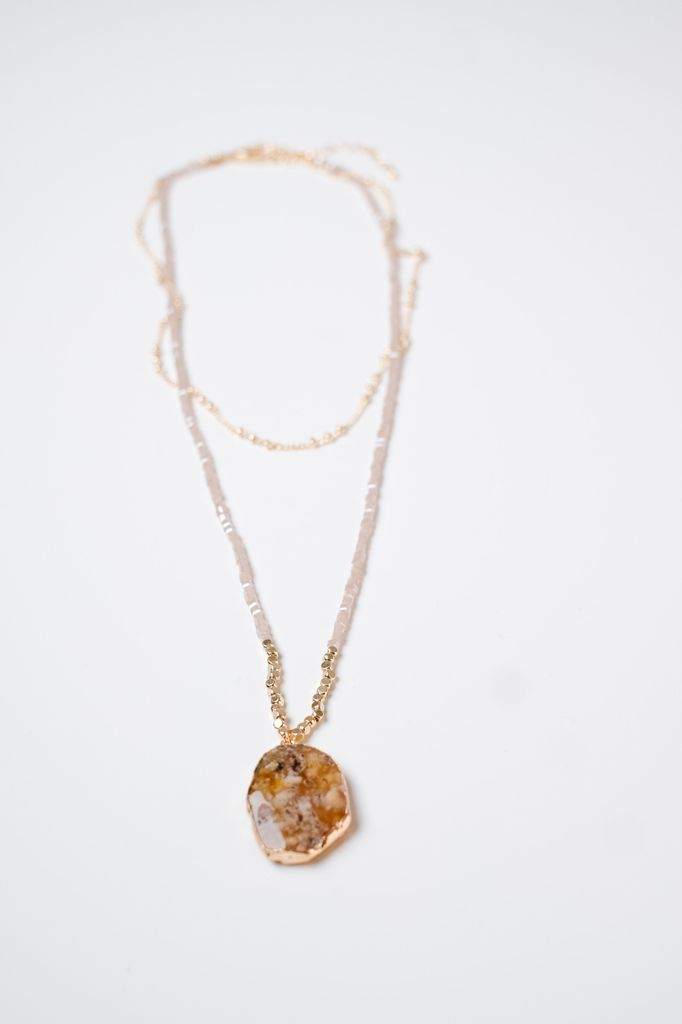 Long Stone Beaded Layered Necklace