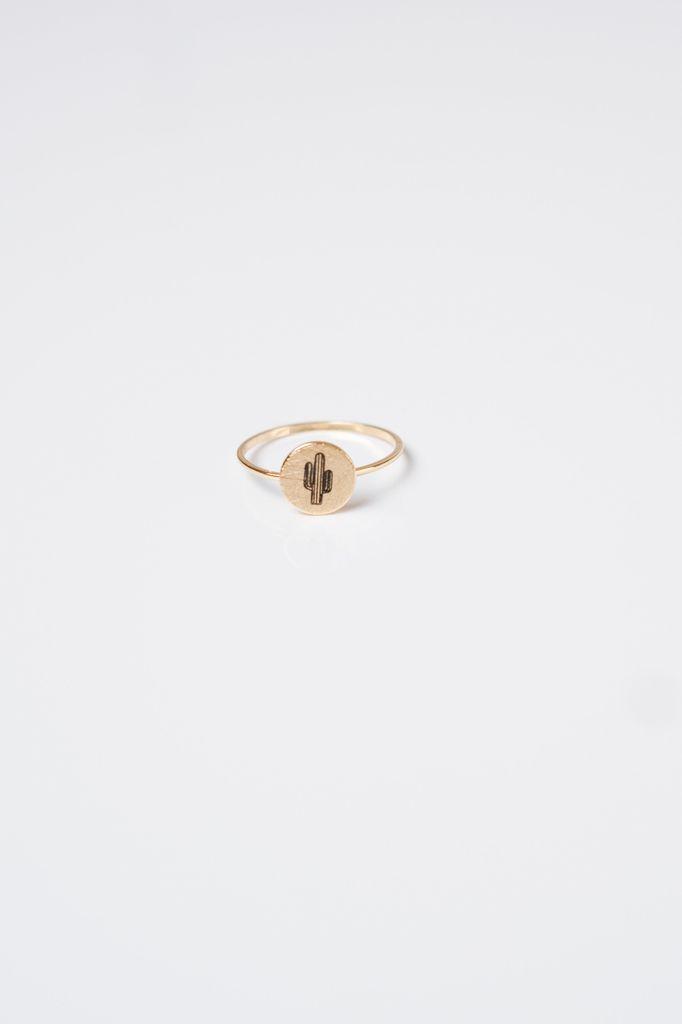 Gold Golden Cactus Ring