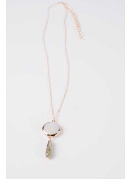 Pearl Pendant Stone Drop Necklace