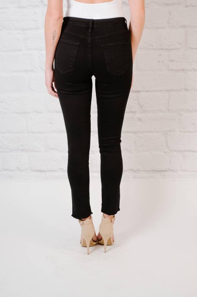 Jeans Black Fray Step Hem Skinny