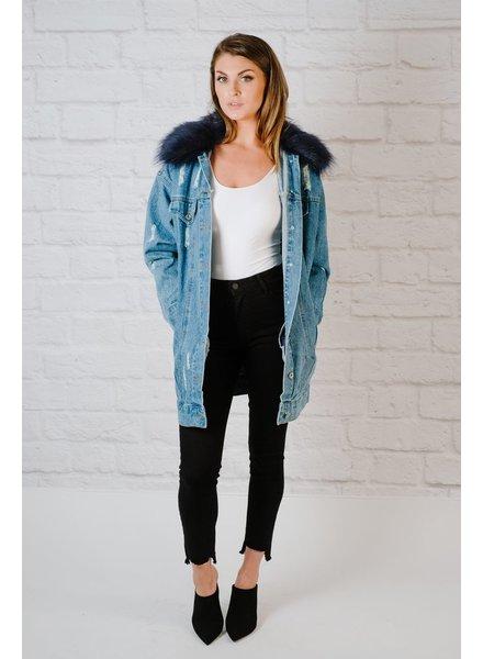 Long Fur Collared Denim Jacket