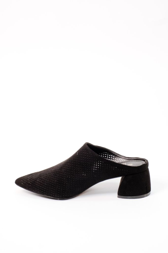 160deb523047 Black Perforated Mule - Bobbles and Lace