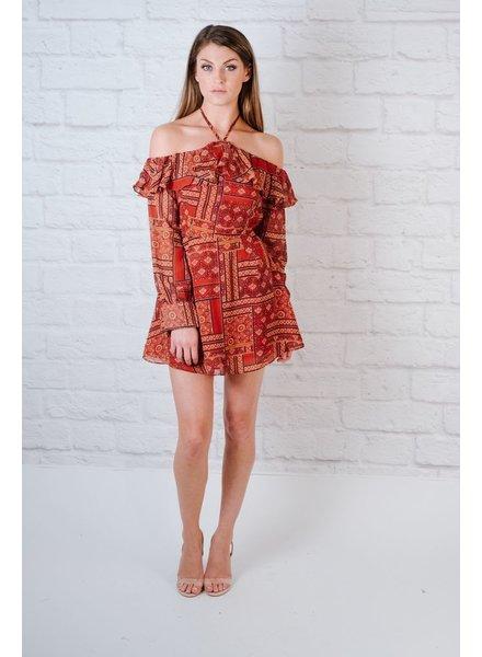 Mini Boho OTS Halter Dress