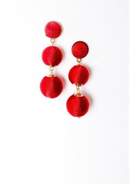 Trend Red graduated sphere drop earrings