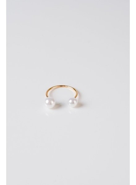 Gold Pearl Ended Ring
