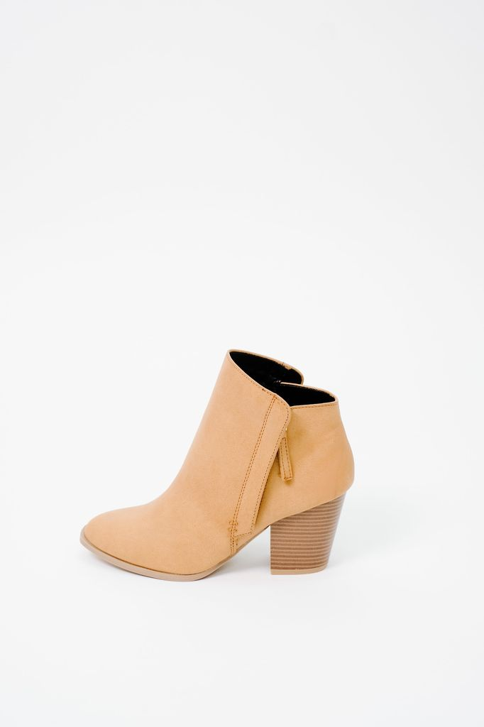 287a63868ae Camel Minimalist Bootie - Bobbles and Lace
