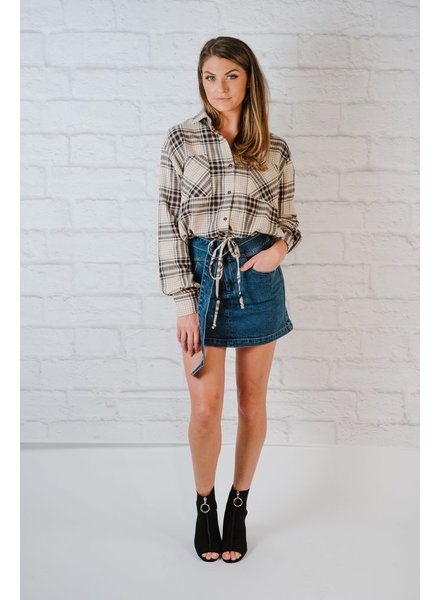 Blouse Drawstring Flannel