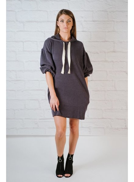 Tunic Hooded ribbed tunic