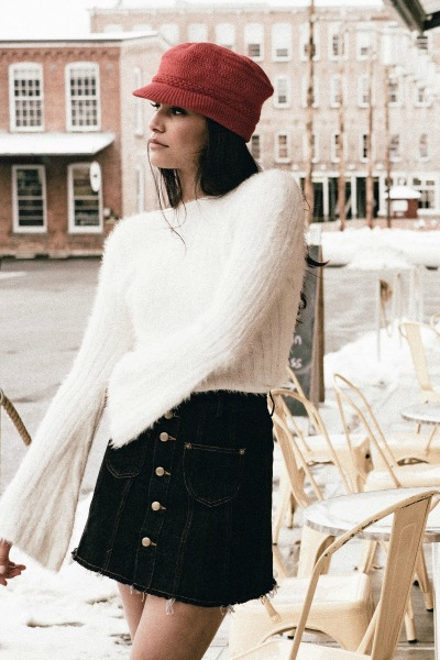 Sweater Ivory Fuzzy Knit