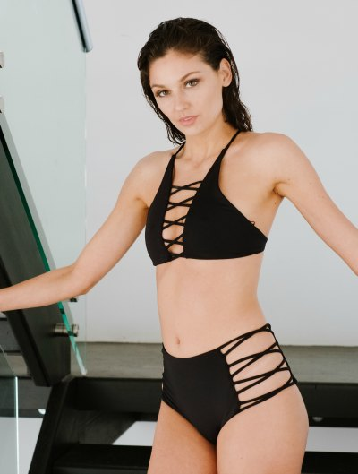 Bikini Black crosed high neck top