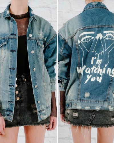 "Lightweight ""I'm watching you"" denim jacket"