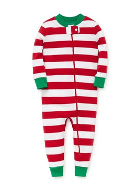 Little Me Red stripe footless pjs