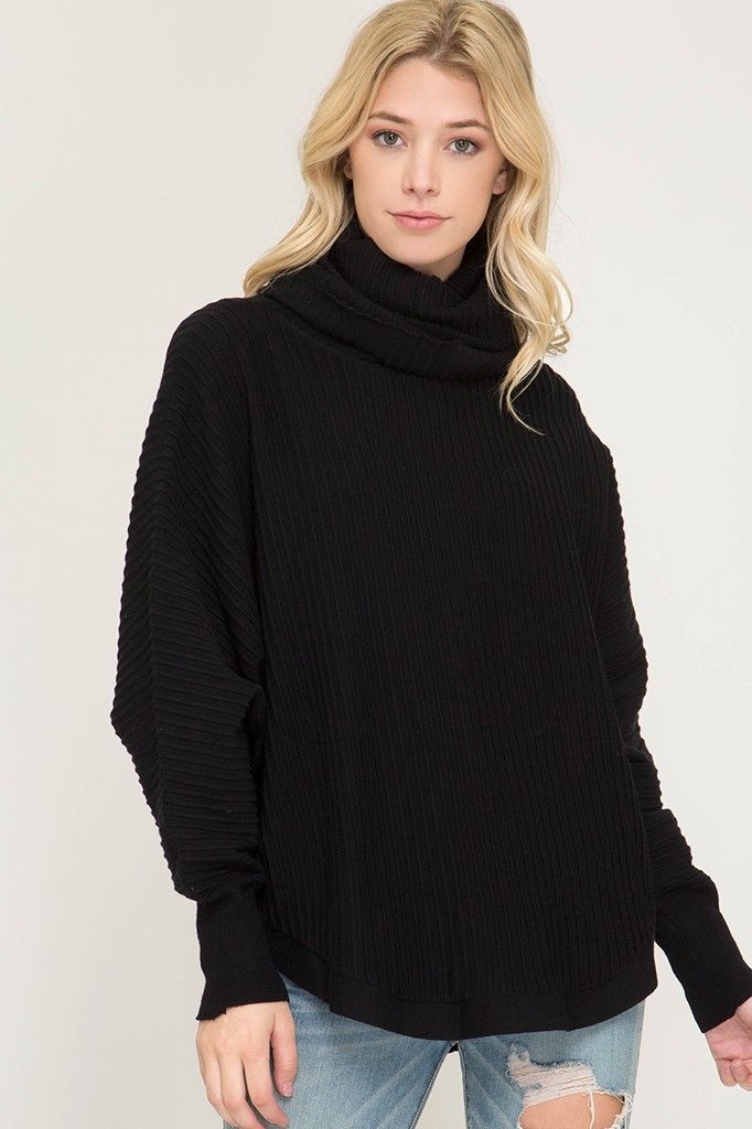 She + Sky Batwing sleeve textured turtle neck sweater