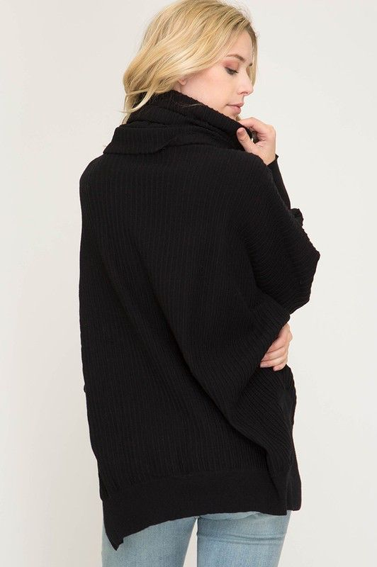 She Sky Batwing Sleeve Textured Turtle Neck Sweater Cloud Nine