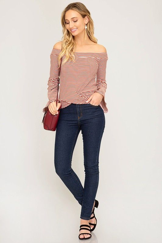 She + Sky Bell sleeve off the shoulder striped rib knit top with cross front detail