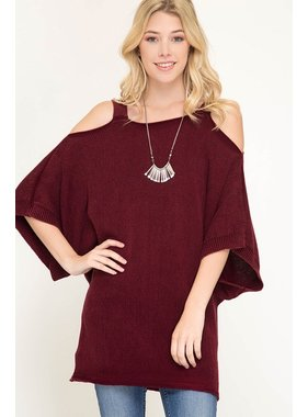 She + Sky 3/4 sleeve washed sweater with cold shoulder