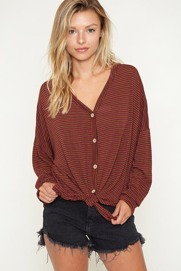 Fantastic Fawn Striped button down tunic