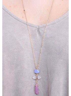 Caroline Hill Dougal delicate chain necklace with opal, crystal and stone drop blue