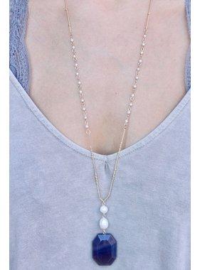 Caroline Hill Lacci natural stone and pearl delicated drop necklace