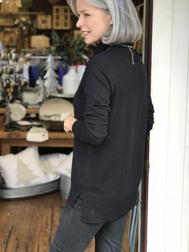 Tribal Long sleeve cowl neck sweater tunic