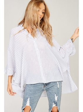 Listicle Striped poncho shirt