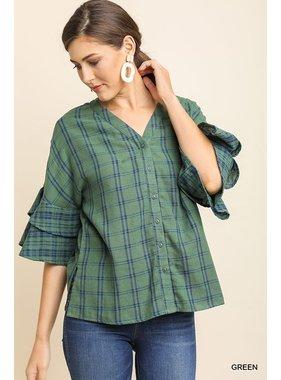 Umgee Plaid print layered ruffle sleeve button up top