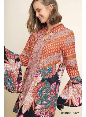 Umgee Floral and paisley print oversized bell long sleeve keyhole dress