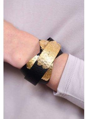 Caroline Hill Lulu lorraine criss cross wide metallic brushed metal cuff bracelet