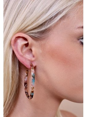 Caroline Hill Dubois resin post long oval hoop earring
